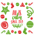 all is calm all is bright lettering with vector image