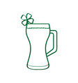 beer glass with a clover vector image vector image