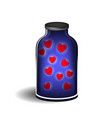 bottle with shiny hearts vector image vector image