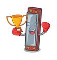 boxing winner harmonica mascot cartoon style vector image vector image