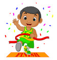 boy ran to the finish line first vector image