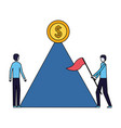 businessmen with flag mountain coin on top vector image vector image