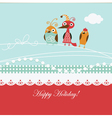 cartoon birds on a greeting card vector image