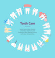 cartoon tooth banner card circle vector image
