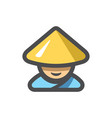 chinese man in a hat icon cartoon vector image