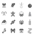 Christmas icons set in black monochrome style vector image vector image