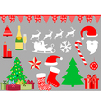 Christmas symbols in a flat style icons vector image vector image