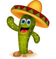 Cute cactus cartoon character vector image