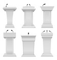 debate podium empty tribune for speaker election vector image