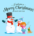 family of snowman in black hat and gloves red vector image