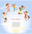 happy children are jumping vector image vector image