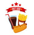 hot dog fast food mustard delicious vector image vector image