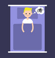 insomnia conceptual young blonde boy lying in vector image vector image