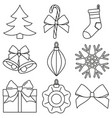 line art black and white 9 xmas elements set vector image