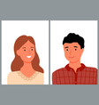 man and woman portraits people couple vector image