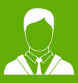 man in business suit icon green vector image vector image