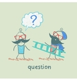 man with a question mark meets a man with a ladder vector image vector image