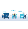 people throw garbage into containers for plastic vector image vector image