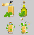 peppermint essential oil set realistic vector image
