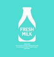 poster fresh milk with the silhouette of the vector image vector image