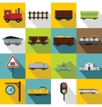 Railway icons set flat style vector image vector image