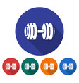 Round icon of dumbbell flat style with long
