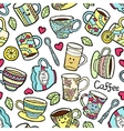 Seamless pattern with doodle tea accessories on vector image