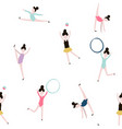 seamless pattern with gymnastic girls modern vector image