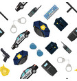 seamless police equipment set pattern vector image vector image