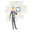 Senior businessman pressing web button with heart vector image