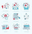 set flat line icons for marketing vector image vector image