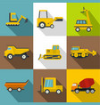 special construction vehicles icons set vector image