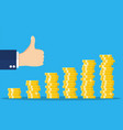 stack gold coins and hand with thumb up gesture vector image vector image
