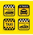 Taxi - set stickers square on the yellow vector image vector image