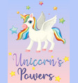 unicorn power on pink sky vector image vector image
