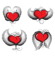 Valentine hearts with wings and vintage pattern vector image