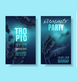 violet neon banner set with tropical leaves vector image vector image