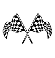 Waving crossed black and white checkered flags vector image