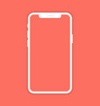 white mobile phone with shadow on coral color vector image vector image