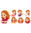 woman with different actions vector image vector image