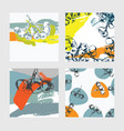 square cards set with hand drawn aronia berries vector image