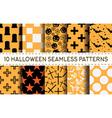 set of 10 halloween pattern vector image