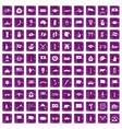 100 national flag icons set grunge purple