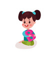 adorable brunette little girl sitting on the floor vector image vector image