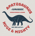 Apatosaurus t-shirt design print typography label vector image