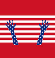 banner poster american flag with hands vector image vector image