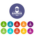 barber shop icons set color vector image