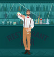 bartender hipster pours drink into glass vector image vector image