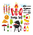 bbq party set icons on white background with vector image vector image