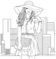 beautiful girl in a hat vector image vector image